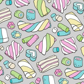 Marshmallows Candy Food on Light Grey