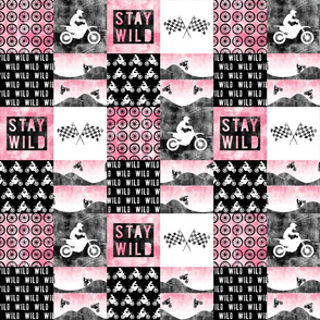 "(3"" small scale) Motocross Patchwork - Stay Wild - Pink C19BS"