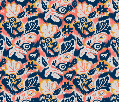 Floral Ikat fabric by esther_loopstra_illustration on Spoonflower - custom fabric