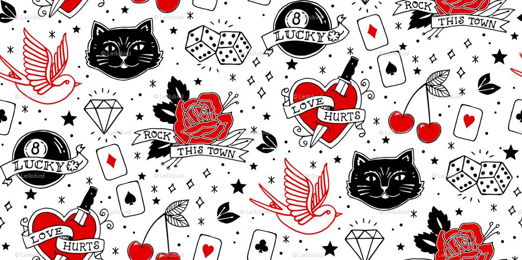 Inked Rockabilly Tattoos Large wallpaper - lellobird - Spoonflower