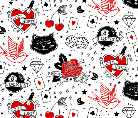 Inked Rockabilly Tattoos Large fabric by lellobird on Spoonflower - custom fabric