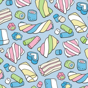 Marshmallows Candy Food on Blue
