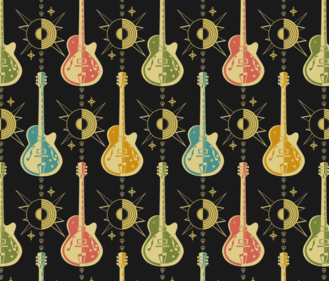 Harlequin Guitars fabric by studioxtine on Spoonflower - custom fabric