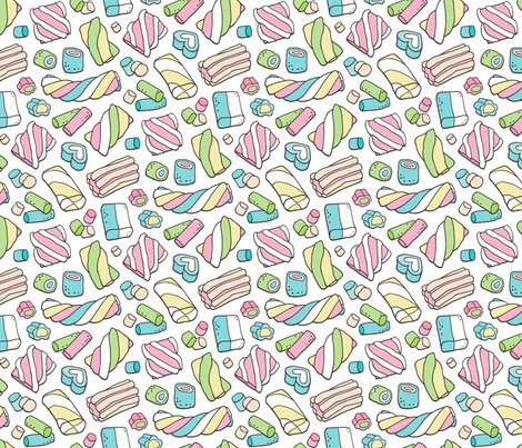Marshmallows Candy Food fabric by caja_design on Spoonflower - custom fabric