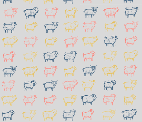 cashere goats coral limited small fabric by tjnealart on Spoonflower - custom fabric
