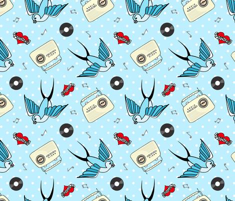Rockabilly in Blue fabric by thewellingtonboot on Spoonflower - custom fabric