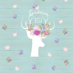 2 YARDs 56x72 Deer 2 Dream Big floral meadow -  mint