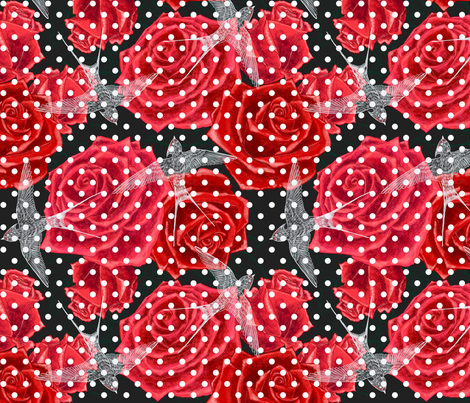 Red Roses for Swallows fabric by helenpdesigns on Spoonflower - custom fabric