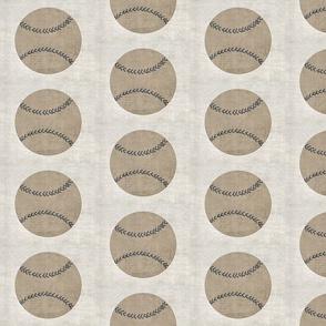 vintage baseball -gray stitching-linen