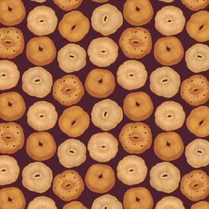 Bagels on Burgundy - Large