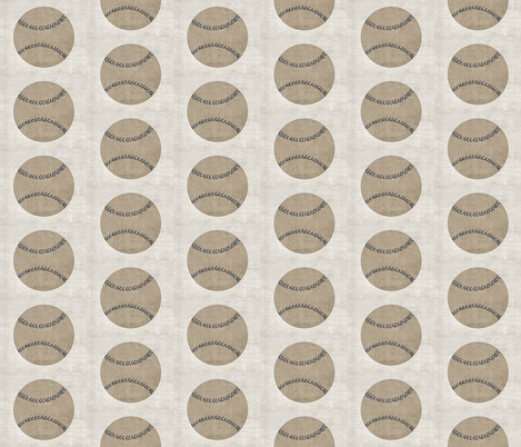 vintage baseball -gray stitching-linen MED35 fabric by drapestudio on Spoonflower - custom fabric