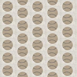 vintage baseball -gray stitching-linen MED35
