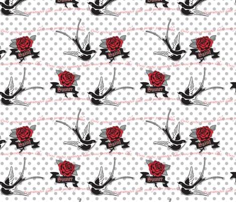 Saint and Sinner fabric by am_design_lines on Spoonflower - custom fabric
