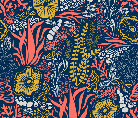 Coral Jungle fabric by justcallmecameron on Spoonflower - custom fabric