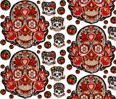 Cherry Bubble Sugar Skulls fabric by heckadoodledo on Spoonflower - custom fabric