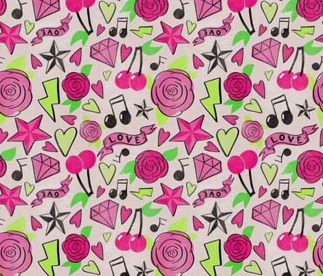 Pink Punk Rockabilly fabric by writtenbykristen on Spoonflower - custom fabric