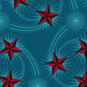 ★ NAUTICAL STAR TATTOO ★ Dark teal & Red - Large Scale / Collection : Rockabilly Style - Kustom Prints