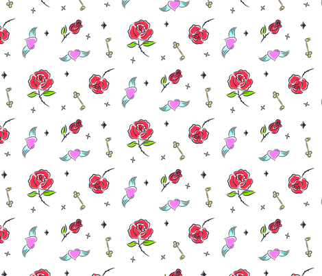 Flash tattoo roses fabric by yopixart on Spoonflower - custom fabric