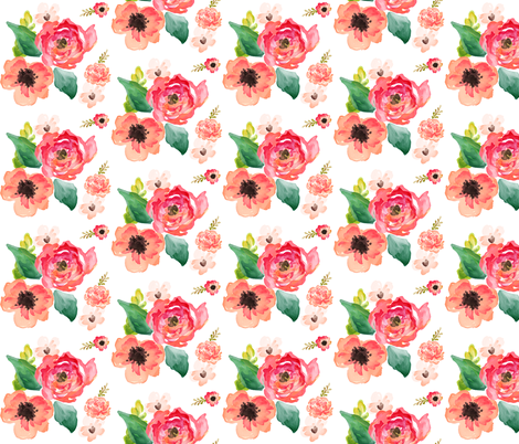 "9"" Floral Dreams White fabric by shopcabin on Spoonflower - custom fabric"