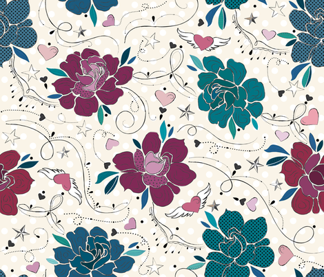 Roses and Love  fabric by liluna on Spoonflower - custom fabric