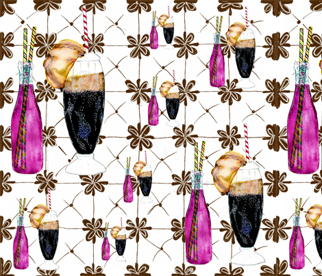 SODA & ROOT BEER FLOAT fabric by hunnellekari on Spoonflower - custom fabric