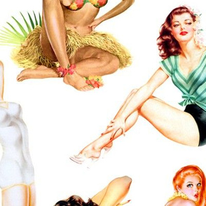 Double Scale - Vintage Tropical Hawaiian Pinup Girls