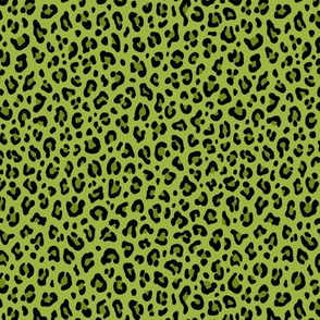★ PSYCHOBILLY LEOPARD – LEOPARD PRINT in LIME GREEN ★ Tiny Scale / Collection : Leopard spots – Punk Rock Animal Print