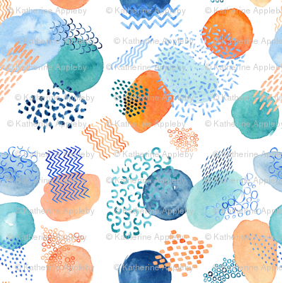 Watercolour Collage in Peach, Teal and Blue