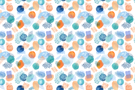 Watercolour Collage in Peach, Teal and Blue fabric by katherine-appleby on Spoonflower - custom fabric