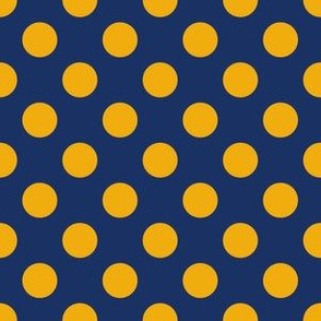 Yellow Polka Dots On Blue