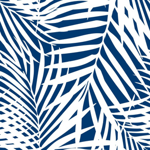 fronds white on navy
