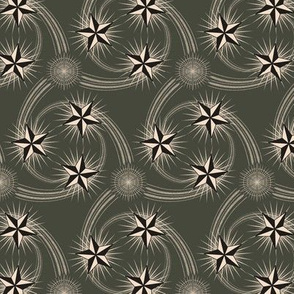 ★ NAUTICAL STAR TATTOO ★ Black and White on Dark Olive - Small Scale / Collection : Rockabilly Style - Kustom Prints