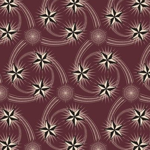 ★ NAUTICAL STAR TATTOO ★ Black and White on Burgundy Red - Small Scale / Collection : Rockabilly Style - Kustom Prints