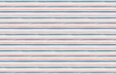 Watercolor Small Stripes M+M Coral Blues by Friztin fabric by friztin on Spoonflower - custom fabric