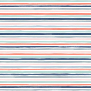 Watercolor Small Stripes M+M Coral Blues by Friztin