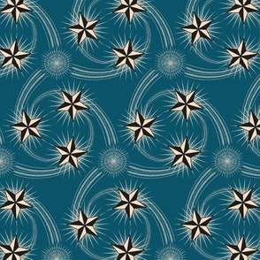 ★ NAUTICAL STAR TATTOO ★ Black and White on Dark Teal / Collection : Rockabilly Style - Retro 50s Prints