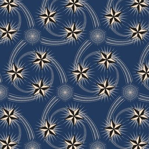 ★ NAUTICAL STAR TATTOO ★ Black and White on Navy Blue / Collection : Rockabilly Style - Retro 50s Prints