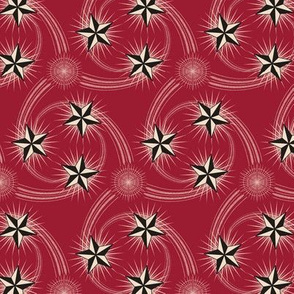 ★ NAUTICAL STAR TATTOO ★ Black and White on Deep Red - Small Scale / Collection : Rockabilly Style - Kustom Prints