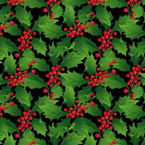 Red holly and green leaves
