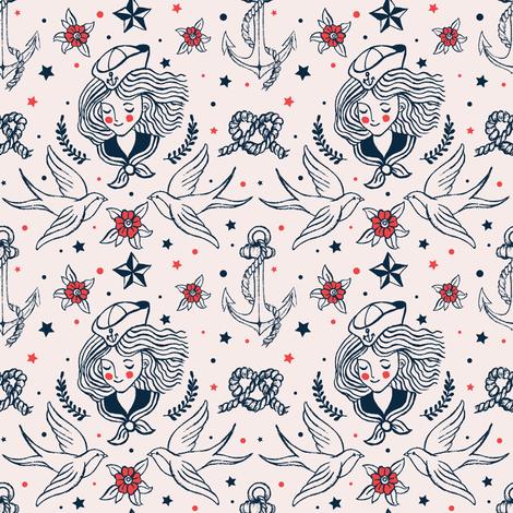 Rockabilly tattoos  fabric by theboutiquestudio on Spoonflower - custom fabric