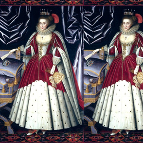 Queen Elizabeth 1 inspired princesses Queens renaissance Tudor big lace ruff collar baroque pearls red white gown crown tiara castle palace fur cape beauty carpets curtains fans gloves Elizabethan era 16th century 17th century historical embroidery ornate