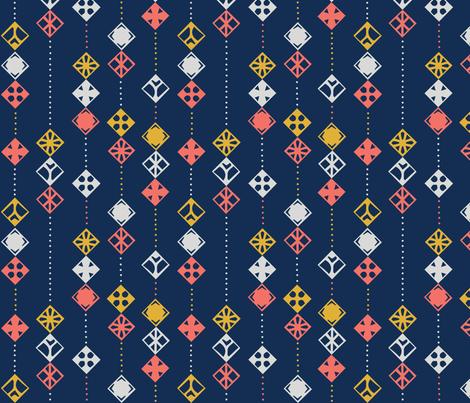 Navy Coral Abstract fabric by robynedesigns on Spoonflower - custom fabric