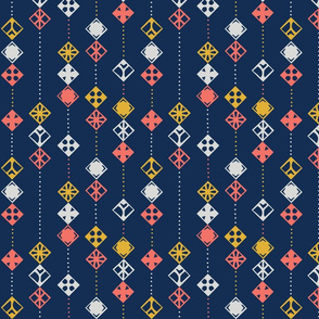 Navy Coral Abstract
