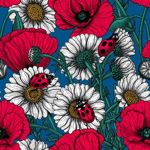 Poppies, daisies and ladybugs