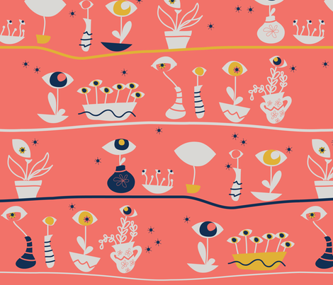 Cultivating my Insight - Eyes in a pot fabric by sara-magrini on Spoonflower - custom fabric