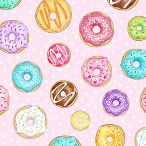 Scattered Rainbow Donuts on pale pink spotty