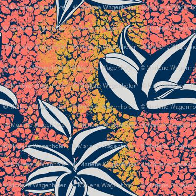 Inch plant on coral cobblestone texture
