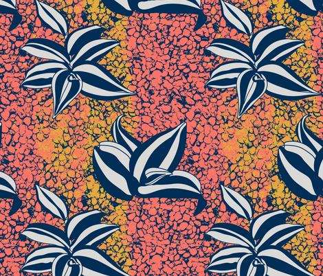 Inch plant on coral cobblestone texture fabric by marlenewagenhofer_art on Spoonflower - custom fabric