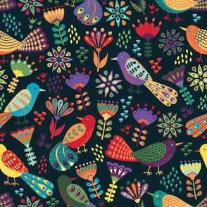 Colorful Folk Birds and Flowers