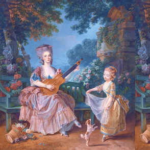 Marie Antoinette inspired pink gowns lace baroque victorian beautiful lady woman beauty garden flowers floral trees sky girl children dogs music dancing  guitar lute puppy clouds roses bows portraits musician ballgowns rococo  elegant gothic lolita egl 18
